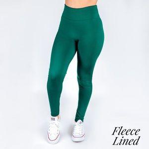 Women's OS Hunter Green Fleece Legging
